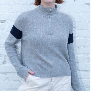 Brandy Melville Casey Knit Quarter Zip Sweater